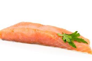 A piece of fresh salmon fish