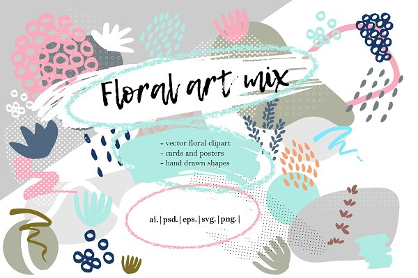 Floral art mix, cards and posters.
