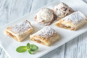 Slices of apple strudel