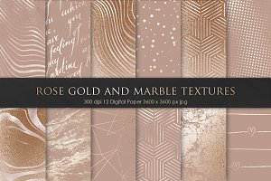 Rose Gold Bronze and Marble Textures