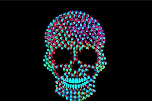 Neon color skull icon with dots
