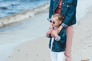 stylish mother and daughter in sungl