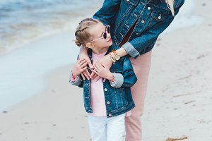 attractive mother and adorable daugh