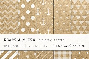 Kraft and White digital paper