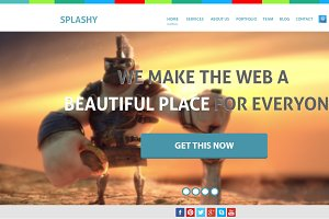 Splashy colorful one page PSD