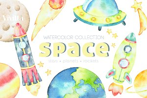 Watercolor Space clipart collection