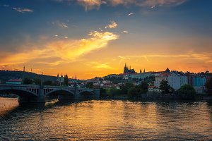 Prague Castle and Vltava river at