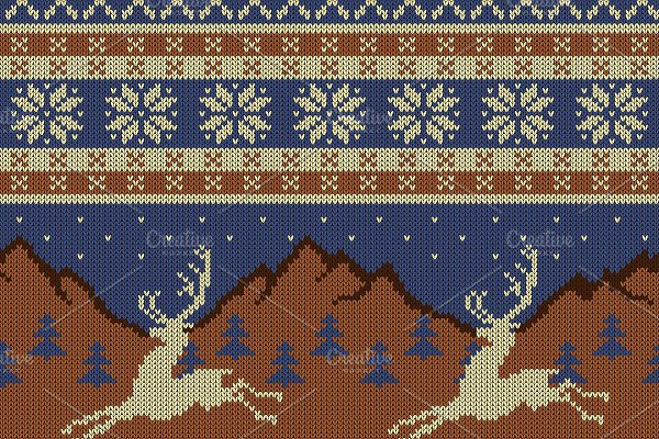 Knitted wool tapestry with deers