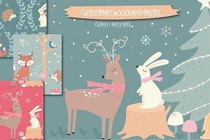 Christmas woodland-pastel set