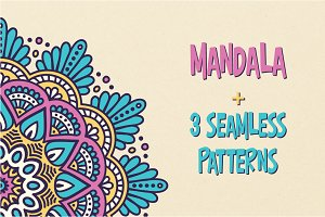 Mandala + 3 Seamless pattern