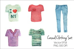 Watercolor T-Shirts and Jeans set