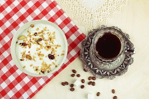Bowl of Granola and Coffee