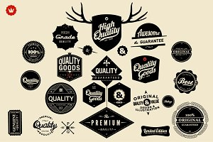Huge set of Retro Badges, Labels