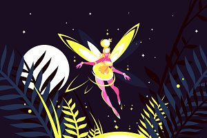 Fairy flying in night forest