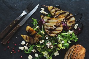 Grilled pear and blue cheese salad.