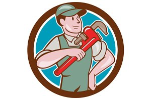 Plumber Pointing Monkey Wrench Circl