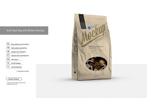 Kraft Paper Bag with Window Mockup