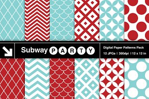 Aqua Red Retro Geometric Papers