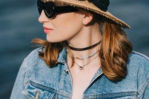beautiful stylish girl in sunglasses