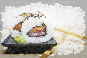 double exposure sushi and rice