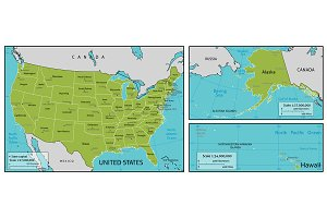 USA States Vector Maps Objects Creative Market - The usa map