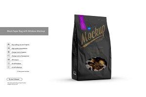 Black Paper Bag with Window Mockup