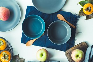 Table setting with empty bowls for