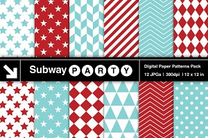 Aqua Blue & Red Geometric Papers