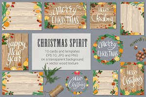 Christmas spirit. Cards & templates