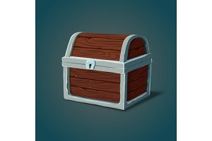 Isometric wooden dower chest