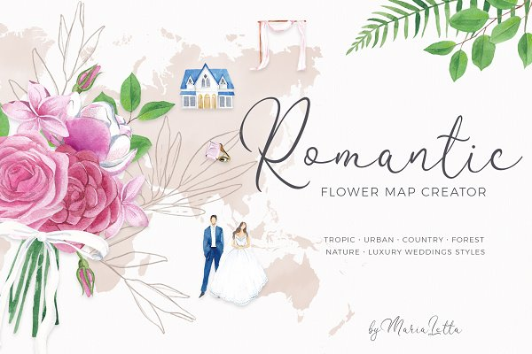 Romantic flower map creator