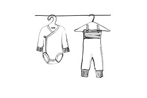 Hand drawn wardrobe sketch. Baby