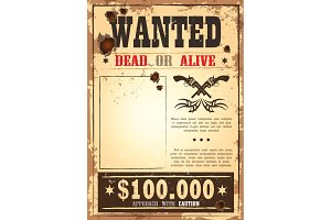 Retro wanted paper for wild west