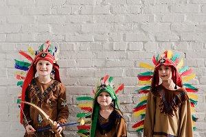 cute little boys in indigenous costu