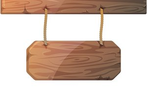 Wooden signboard on ropes