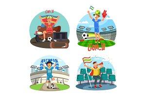 Soccer or football fans celebrating