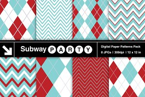 Aqua Red & White Chevron & Argyle