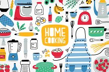 Big home cooking bundle, seamless by  in Illustrations
