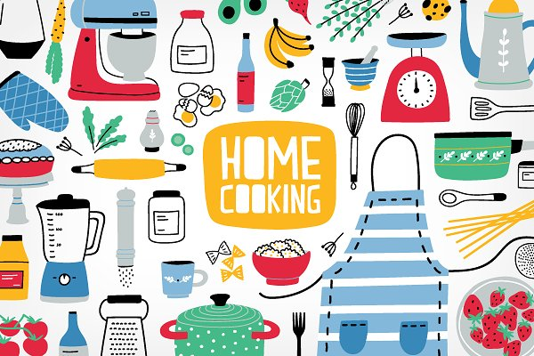 Illustrations and Illustration Products: Good_Studio - Big home cooking bundle, seamless