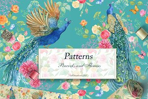 Seamless patterns .Peacocks  Flower