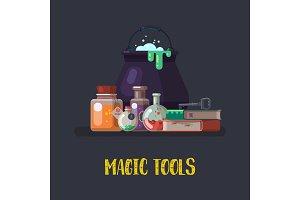 Witch cauldron and magic books