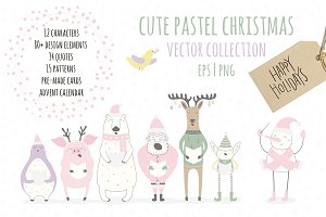 Funny Pastel Christmas Vector Set