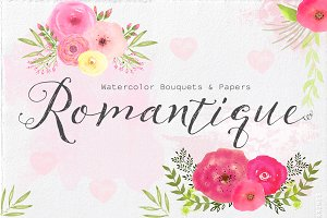 Watercolor Bouquets & Papers