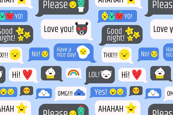 Messages with cute emoji set