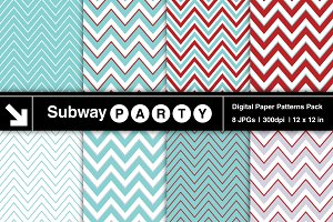 Aqua Blue & Red Chevron Papers