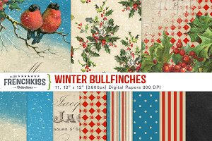 Winter Bullfinches Digital Papers