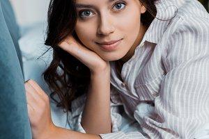 beautiful young woman in pajamas loo
