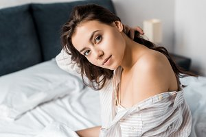 beautiful tender woman looking at ca