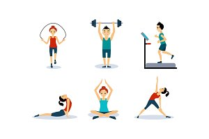 People doing sport exercises set