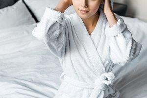 beautiful girl in white bathrobe wea